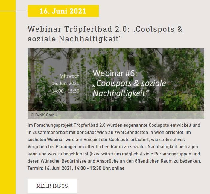 Tröpferlbad 2.0: Bewerbung des sechsten Tröpferlbad 2.0 Webinars über Energy Transition 2050 (Klima- und Energiefonds)