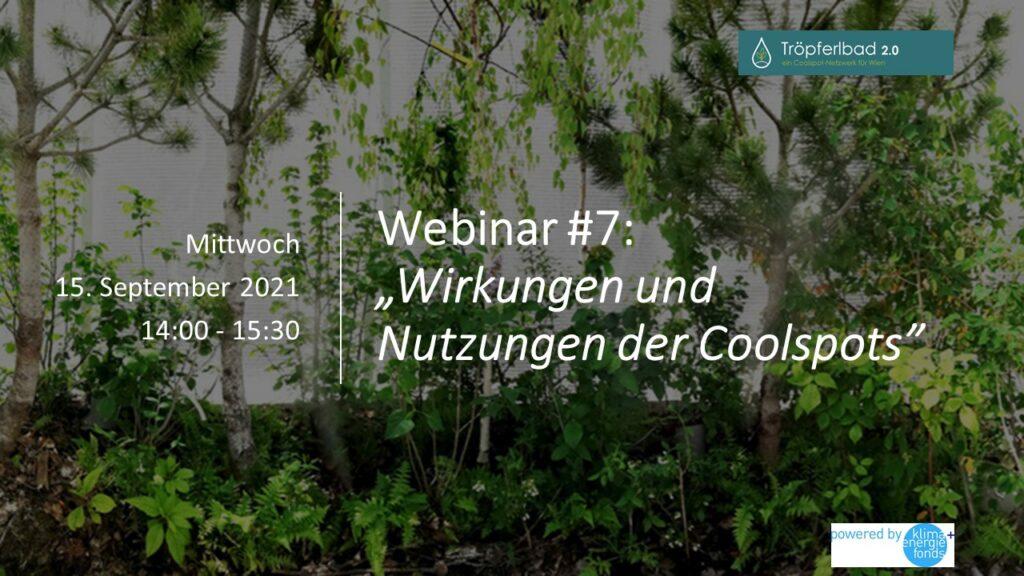 """Tröpferlbad 2.0 Webinar #7: """"Wirkungen und Nutzungen der Coolspots"""""""