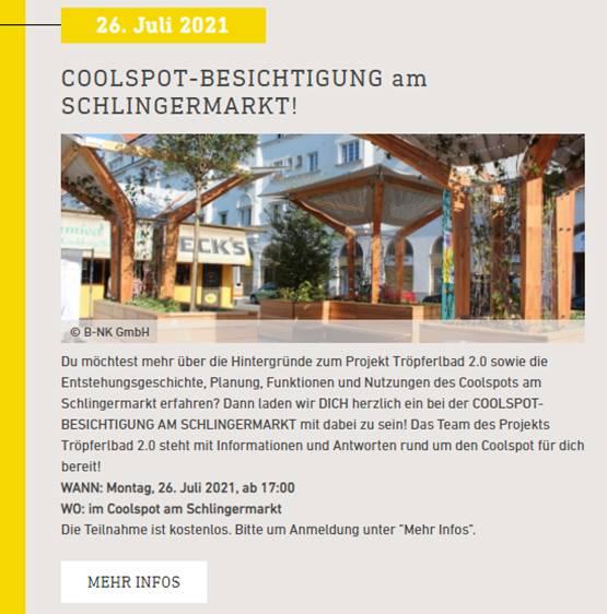 Tröpferlbad 2.0: Bewerbung der Coolspot Besichtigung am Schlingermarkt über Energy Transition 2050 (Klima- und Energiefonds)