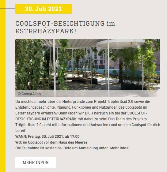 Tröpferlbad 2.0: Bewerbung der Coolspot Besichtigung im Esterházypark über Energy Transition 2050 (Klima- und Energiefonds)