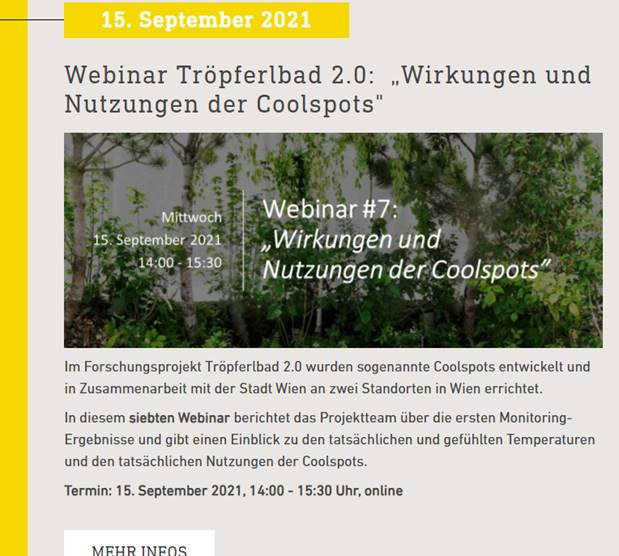 Tröpferlbad 2.0: Bewerbung des siebten Webinars über Energy Transition 2050 (Klima- und Energiefonds)